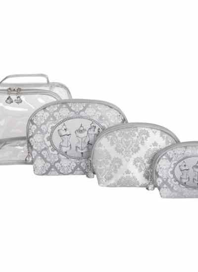 "Set da 3 trousse da toilette + 1 trousse in PVC ""Boudoir"" Mathilde M."