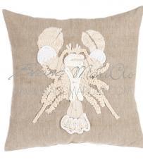 """Cuscino ricamo aragosta """"Crochet Sealife Collection"""" Blanc Mariclò"""