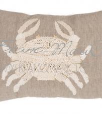"""Cuscino ricamo granchio """"Crochet Sealife Collection"""" Blanc Mariclò"""