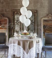 """Tovaglia con pizzo 170x170 """"Villa Madama Collection"""" Blanc Mariclò"""
