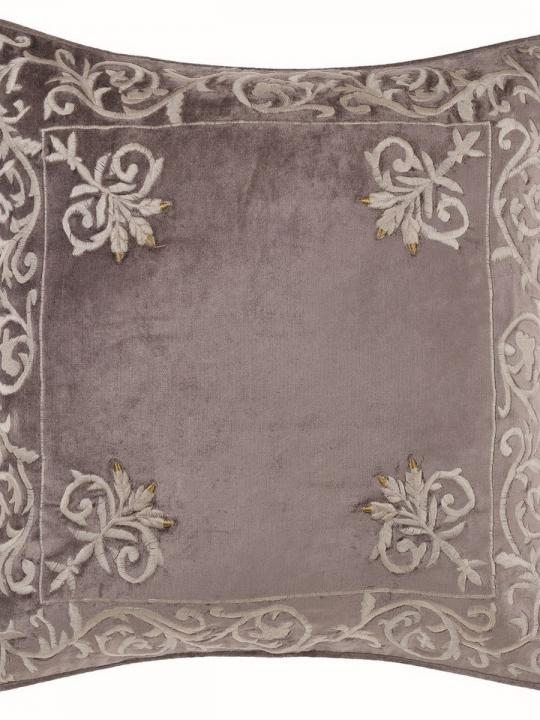 Cuscino ricamato in velluto quadrato