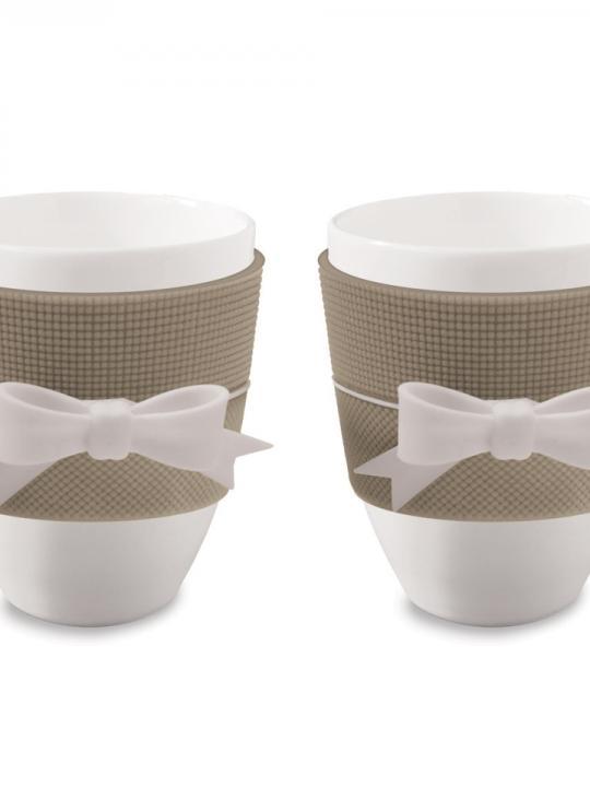 Set 2 Mug Tortora con fiocco bianco