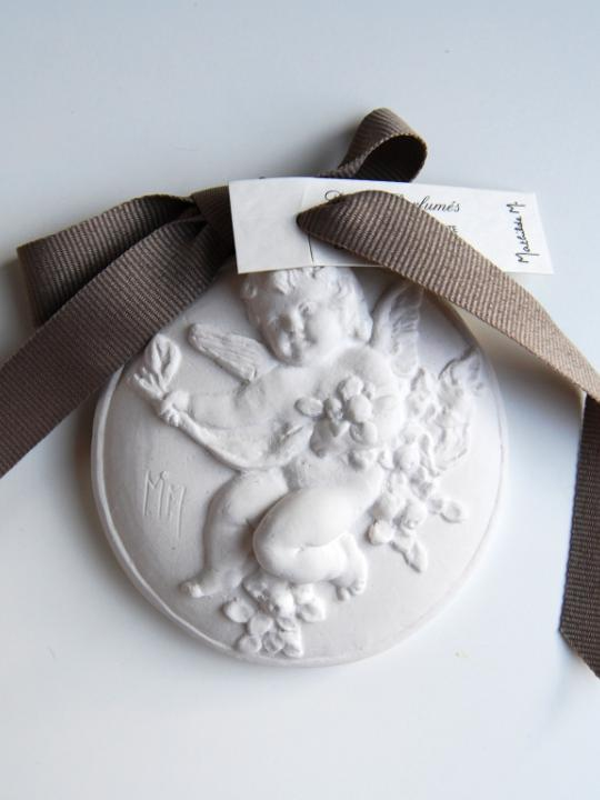 Medaglione angelo in gesso
