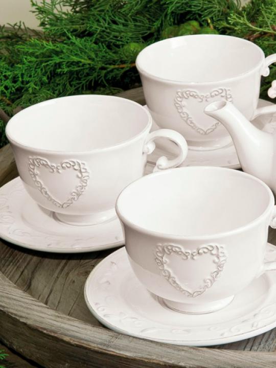 Set tazza grande da latte con piattino