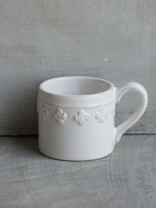 Tazzina caffè fiore bianca