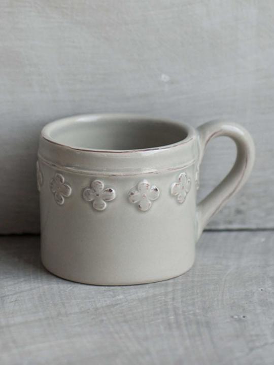 Tazzina caffè fiore grigia