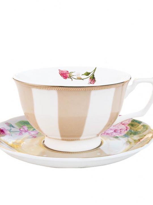 Set tazza thè con piattino + piatto dessert Cappuccino